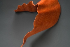 """LEAF 1  - 2007  27"""" h x 27"""" w x 11"""" d Laminated plywood, aniline dye Available by commission"""