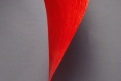 """RED FALL - 2000 68"""" h x 18"""" w x 20"""" d Laminated plywood, aniline dye Available by commission"""