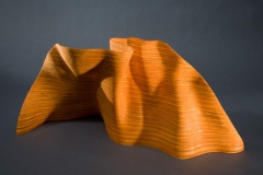 """Sunset - 2010 - 8"""" h x 8"""" w x 6"""" d Laminated plywood, aniline dye Available"""