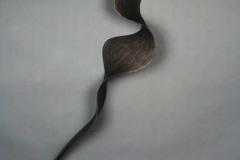 "un furl - black twist - 2014 76"" h x 15"" w x 9"" d Laminated plywood, aniline dye Available"