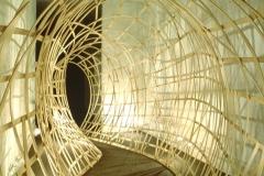 """""""Unwalled"""" - 1996 Bent wood installation Arlington Arts Center Arlington, VA 11' h x 10' w x 23' d"""
